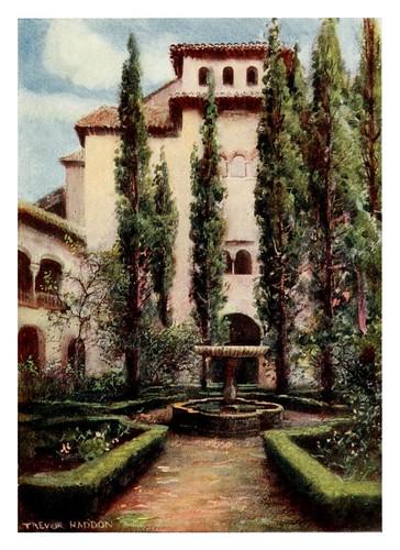 037-Granada-El -Generalife patio de los cipreses2-Southern Spain 1908- Trevor Haddon