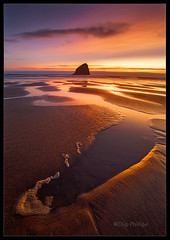 Pacific City Sunset (Chip Phillips) Tags: ocean city sunset beach rock oregon coast sand pacific haystack