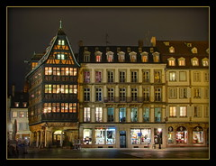 Kammerzell House at night, Strasbourg (Mike G. K.) Tags: windows france architecture night geotagged lights restaurant traditional strasbourg alsace shops blending kammerzell exposureblending photomatix officedetourisme 3exp kammerzellhouse geo:lon=7750087 geo:lat=48581762
