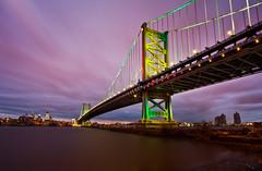 The Nightman Cometh (chris lazzery) Tags: longexposure bridge philadelphia skyline newjersey cityscape pennsylvania camden 5d benfranklinbridge delawareriver canonef1740mmf4l