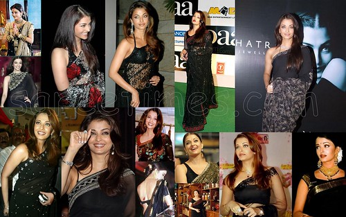 Aishwarya-Rai-in-Black-sarees