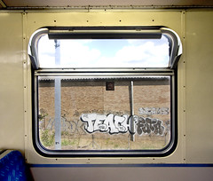 Overground 3 (Box D) Tags: street travel london art window public train graffiti transport teach overground futa deams