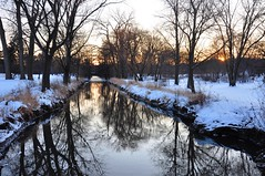 DuPage at dusk (christiaan_25) Tags: winter light sunset shadow sky sunlight snow cold reflection water glass river dark landscape mirror evening dusk january dupage explore 196 mortonarboretum 14january2010