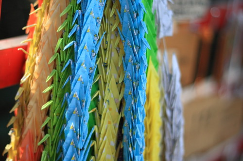 Paper cranes in Nonomiya Shrine, Kyoto