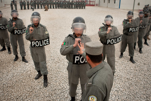 Afghan National Police (ANP) students practice riot control ...