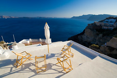 Chill Out on the Roof! (Michael Rugosi) Tags: ocean blue roof color colour beach beautiful greek chairs santorini greece