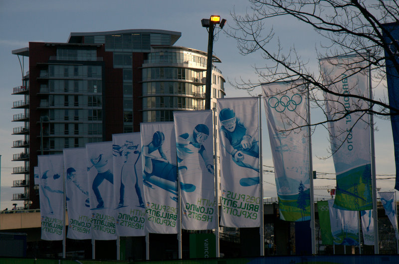 Banners outside of BC Place near the Cambie Bridge and Yaletown.