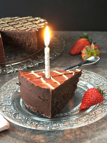 fudge cake with candle
