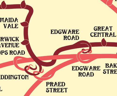 Detail of decorative Tube map by Maxwell Roberts