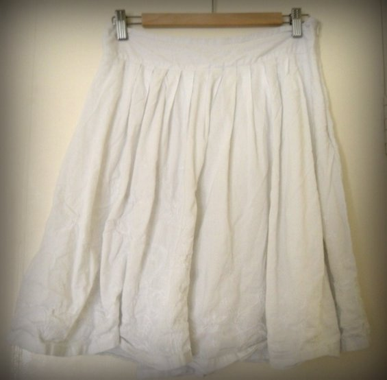 White skirt, also unironed