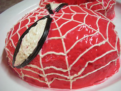 Spiderman cake close up