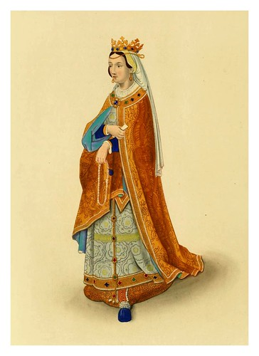 021-La reyna Filipa de Portugal alrededor de 1525-Dresses and decorations of the Middle Ages 1843- Henry Shaw