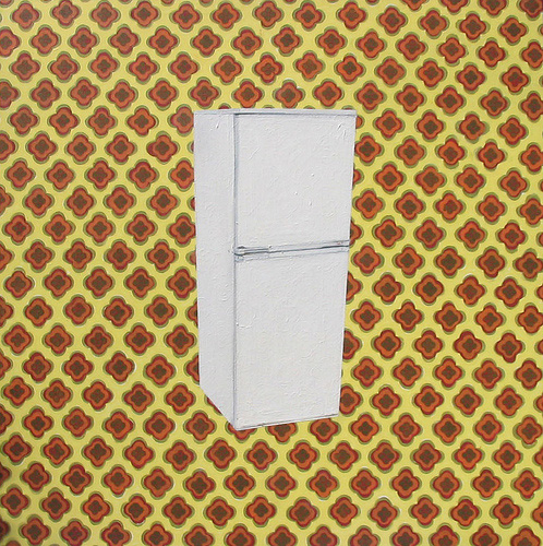 Fridge on Yellow Pattern, Acrylic & Oil on Canvas, 31cm x 31cm by Robin Clare