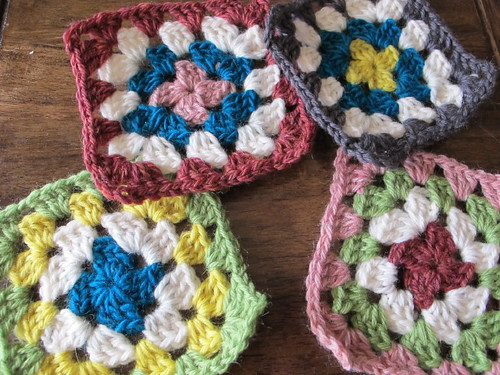 Granny Coasters before felting