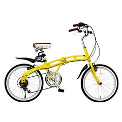 be-s DOPPELGANGER(ドッペルギャンガー) 20インチアルミフレーム折り畳み自転車 イエローイッシュゴールド 204 カギライト付き
