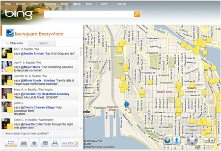 Foursquare on Bing Maps