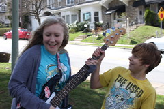 I can play bass (Sarah Six) Tags: park blue red house smile yellow sarah happy bass excited blonde vans logan shocked somersaultsunday springtimetheused