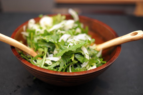 dandelion salad with shaved fennel, celery and parsley