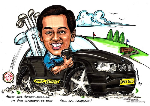 Caricature for AIA - BMW X5 golf TMCC A3