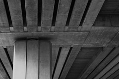 Strength (f3liney) Tags: bridge lines concrete grey blackwhite perspective structure m42 strength pentacon beams supports truss trowse