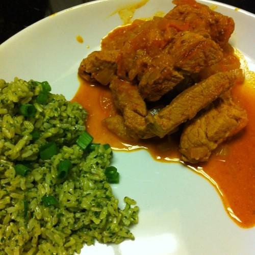 Pork Paprika w/ cilantro sesame brown rice