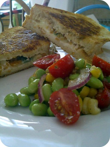 Jalepeno Popper Grilled Cheese & Corn and Edemame Salad