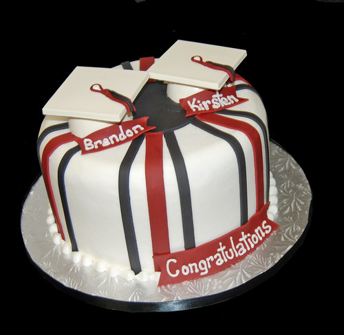 Black and maroon highschool graduation cake for two graduations