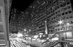 The Great Wall of Hong Kong (Wilson Au | 一期一会) Tags: canon hongkong night blackandwhite monochrome quarrybay multipleexposure ef2485mmf3545usm eos5dmarkiii slowshutter slowshutterspeed building longexposure