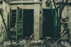 The Disturbed Ones (micahmoreland) Tags: creepy horror surreal surrealism surrealist conceptual costume world war 2 ii dystopian scary haunting grunge texture male toxic death gas mask baby doll child urbex abandoned machine shop urban exploration