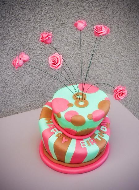 birthday cake fondant topsy turvy wonky whimsical roses