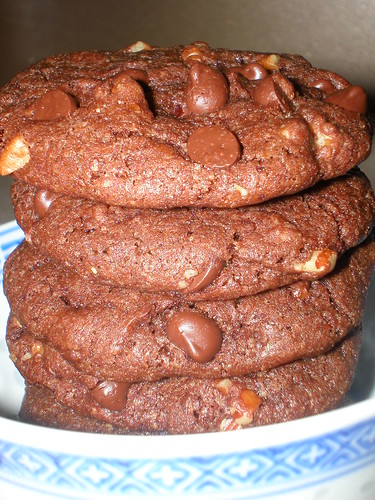 Chocolate-Chocolate Chip-Walnut Cookies