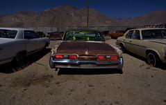 Next to the Nova (Maureen Bond) Tags: ca lightpainting mountains cars night lights automobile desert alien creepy fullmoon junkyard