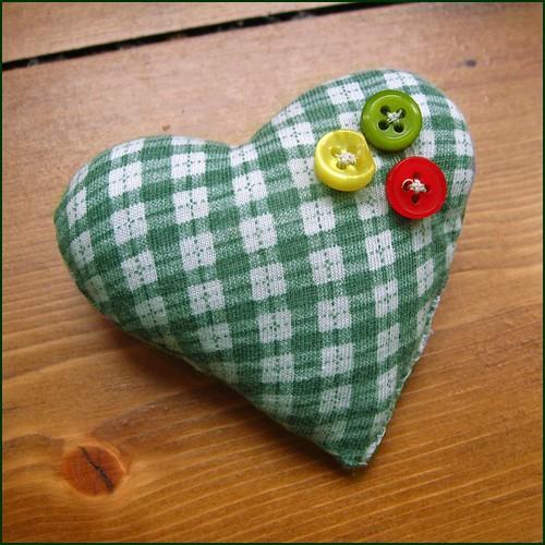 handsewn heart brooch