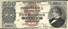 1880 Silver Certificate 500 dollars