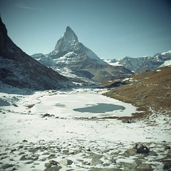 Matterhorn and Riffelsee (boscoppa) Tags: snow 120 film switzerland fuji superia fujifilm matterhorn riffelsee halina prefect fujicolor