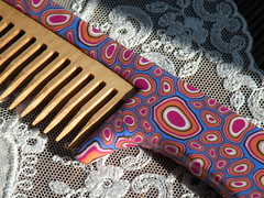A Wooden Comb, Natural Beech.... (Arzu Musa) Tags: blue orange cane hair women purple handmade craft polymerclay fimo clay ponytail accessories comb hairaccessories millefiori bathandbeauty arzumusa