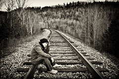 """Meaningful"" (Nghi La) Tags: trees friends people blackandwhite bw selfportrait ontario canada me forest outdoors woods nikon thought friendship path traintracks tracks sp remembrance nikkor meaningful 2470mm pastpresentfuture d700 ebbandflowoflife"