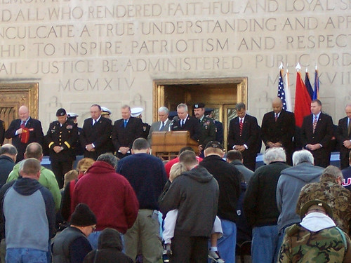 Major Amick of The Salvation Army prays for our nations veterans at the downtown Indy Veterans Day parade