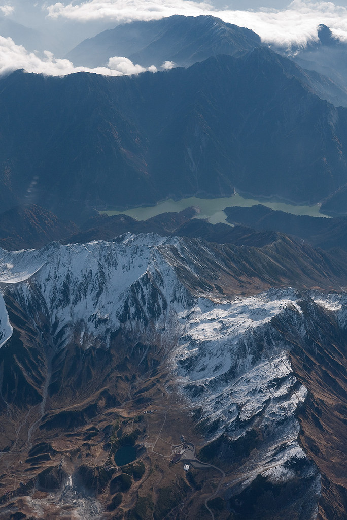 the view of airplane window (5) Japan North Alps with Lake Kurobe
