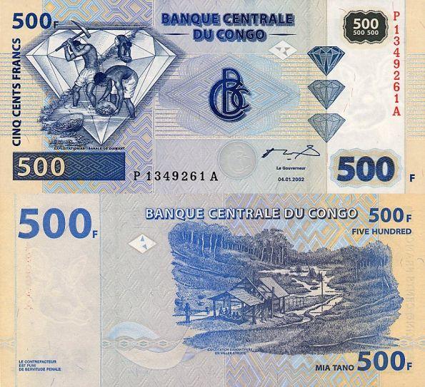 500 frankov Demokratická republika Kongo 2002