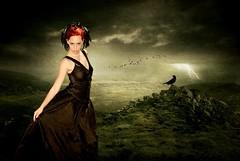 The Raven Priestess (~Brenda-Starr~) Tags: mountains grass birds clouds photomanipulation photoshop dark rocks feathers stormy hills textures raven priestess ourtime brendastarr ghostworks faestock november2009 graphicmaster imagofabulae