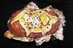 #108. Baked Potato! (hawhawjames) Tags: art face painting james bacon aluminum paint artist dish mask body head foil side cream makeup idaho potato butter 365 spuds sour chives bits kuhn baked spud