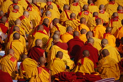 Mahabodhi Temple in Bodh Gaya, India (J Eberl) Tags: red india yellow temple meditate nirvana robe buddha buddhist pray bald monk buddhism bodh gaya lama enlightenment saffron bihar enlighten bodhgaya mahabodhi guatama earthasia