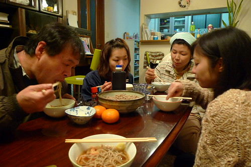 Eating soba with Maiko's family