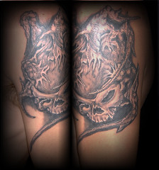 skull (Billy Whaley Tattoo) Tags: new white black tattoo skull grey idea scary arm kentucky manly roots evil indiana albany billy louisville custom whaley