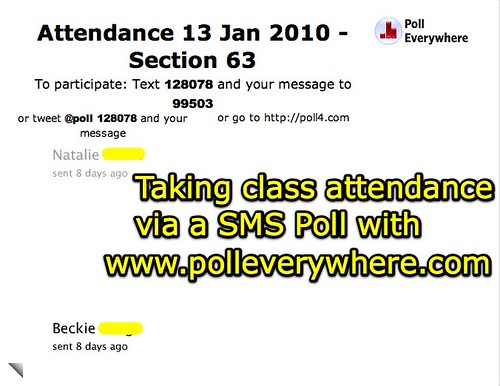 Taking class attendance via a SMS poll
