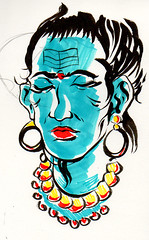 Rama Sketch (MatthewJamesTaylor) Tags: blue india face pen matt sketch necklace drawing indian brush taylor markers rama matttaylor