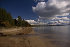 Beach (AnthonyC Photography) Tags: lake colour tree beach water clouds colours lakesuperior saultstemarie fallcolours lakesuperiorprovincialpark cloudtrailing
