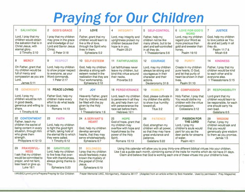 Monthly Prayer Chart 1
