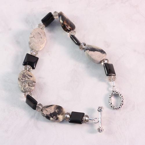 Jet Black Onyx Silver Leaf Jasper Chunky Bracelet